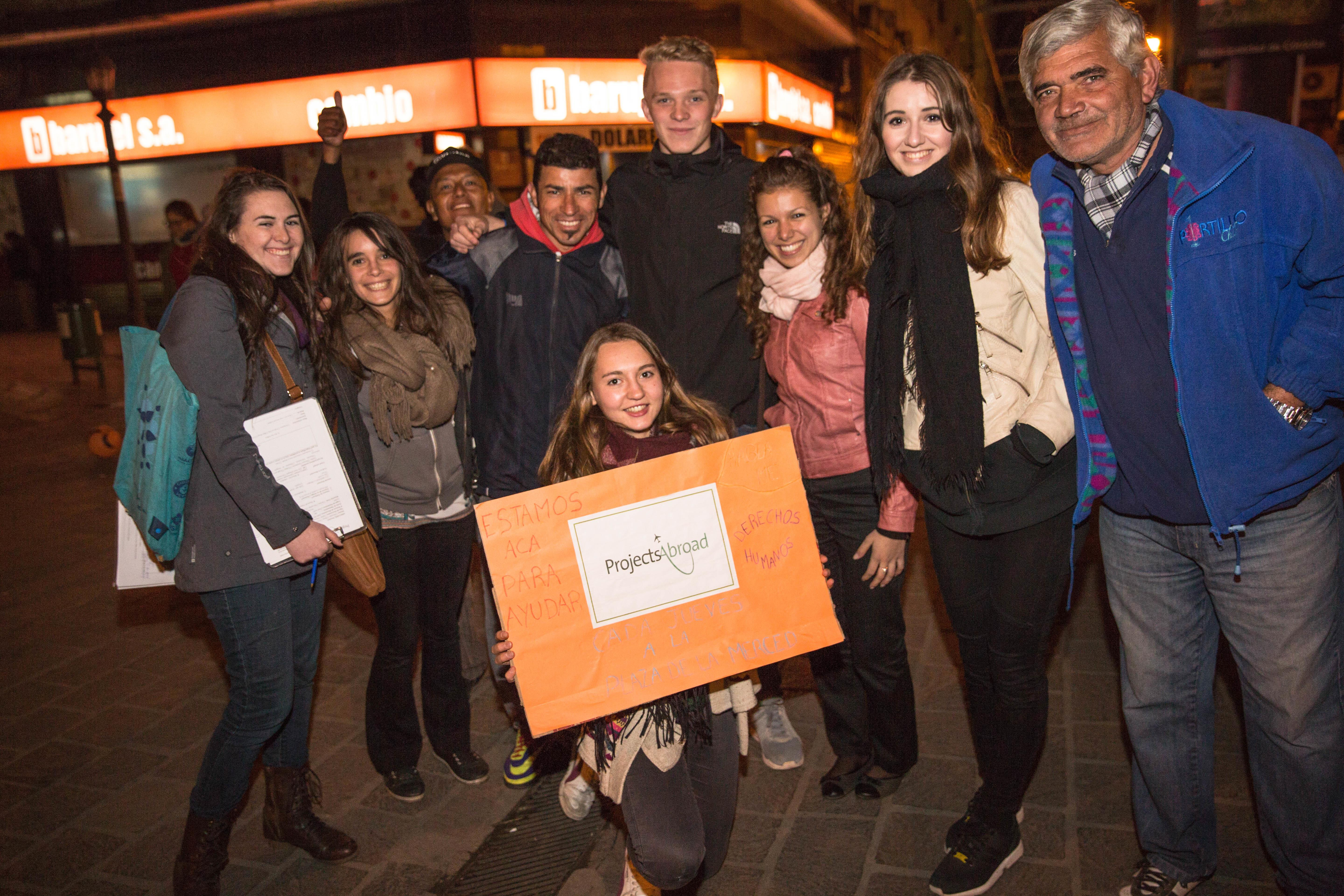 Interns run an awareness campaign during our Human Rights internship for high school students in Argentina